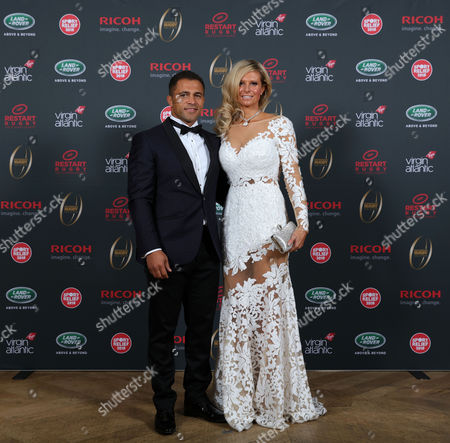 Jason Robinson and partner Sian during the Premiership Rugby Hall of Fame at Honourable Artillery Company, London, England on Thursday 12th of October 2017 - (