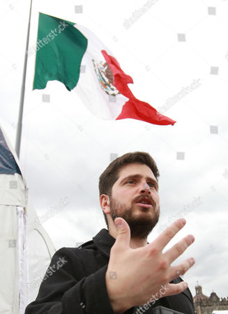 Young Chilean writer Andres Montero, winner of the 10th Ibero American Novel Award Elena Poniatowska for 'Tony ninguno' during the inauguration of the 17th International Book Fair at the Main Square in Mexico City, Mexico, 12 October 2017.