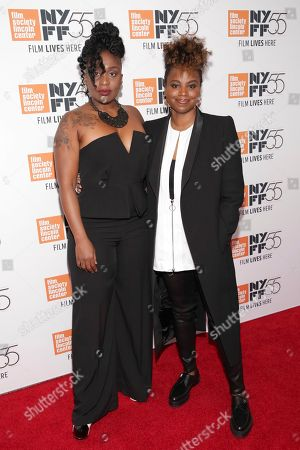 """Tamar-Kali, Dee Rees. Composer Tamar-Kali, left, and director/ co-writer Dee Rees attend a special screening of """"Mudbound"""", during the 55th New York Film Festival, at Alice Tully Hall, in New York"""