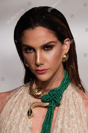 Stock Image of A model wears a creation from Mexico's jewelry designer Daniel Espinosa during Panama Fashion Week in Panama City