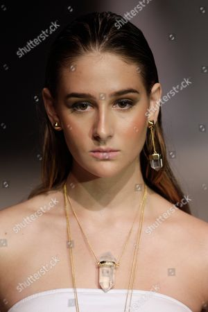 A model wears creations by Mexico's jewelry designer Daniel Espinosa during Panama Fashion Week in Panama City