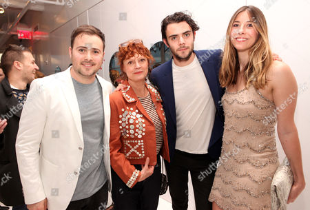 "David Cohen, Susan Sarandon, Tanner Cohen and Lara Marie Schoenhals seen at the ""Psychos"" by Babe Walker Book Party at Alice and Olivia, in New York, New York"