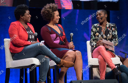 Lubbie Ajayi, Deesha Dyer, Kirby Bumpus. Luvvie Ajayi, right, interviews Deesha Dyer, left, and Kirby Bumpus at Together Live on in Washington