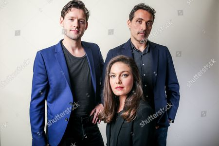 """Luke Kleintank, from left, Alexa Davalos and Rufus Sewell, cast members of the Amazon series """"The Man in the High Castle,"""" pose for a portrait during the 2016 Television Critics Association Summer Press Tour at the Beverly Hilton, in Beverly Hills, Calif"""