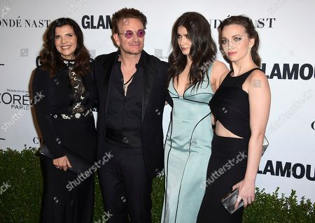 Ali Hewson, from left, Bono and their daughters Eve Hewson and Jordan Hewson arrive at the Glamour Women of the Year Awards at NeueHouse Hollywood, in Los Angeles