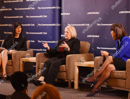 """Stock Picture of Melanne Verveer, center, with Andrea Jung, left, and Kim Azzarelli at """"Who Runs the World? Women with Power and Purpose"""" event at The Commonwealth Club, on in San Francisco"""
