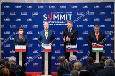 Beata Szydlo, Bohuslav Sobotka, Robert Fico and Viktor Orban