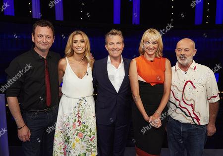 Pictured: (l-r) Matt Allwright, Stacey Solomon, host Bradley Walsh, Louise Minchin and Keith Allen