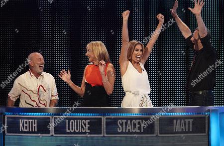 Pictured: (l-r) Jubilant Keith Allen, Louise Minchin, Stacey Solomon and Matt Allwright