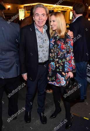 """Composer Andrew Lloyd Webber, Imogen Lloyd Webber arrive at """"Springsteen On Broadway"""" opening night at the Walter Kerr Theatre, in New York"""