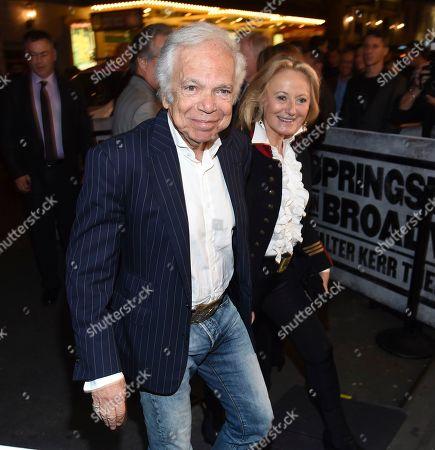 "Ralph Lauren, Ricky Anne Loew-Beer. Designer Ralph Lauren and wife Ricky Anne Loew-Beer arrive at ""Springsteen On Broadway"" opening night at the Walter Kerr Theatre, in New York"
