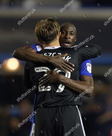 Birmingham's Cheikh Ndoye celebrates victory with  Tomasz Kuszczak
