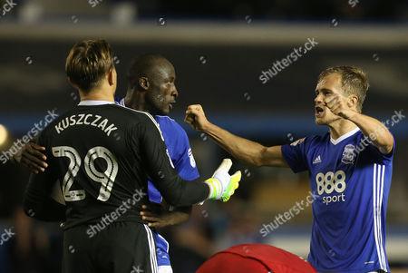 Birmingham's Maikel Kieftenbeld celebrates with Tomasz Kuszczak  and  Cheikh Ndoye