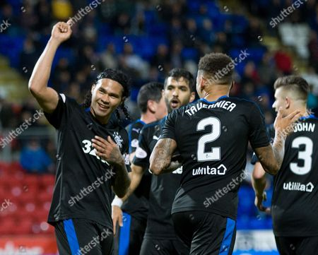 Carlos Pena of Rangers celebrates after scoring to give them a 0-2 lead