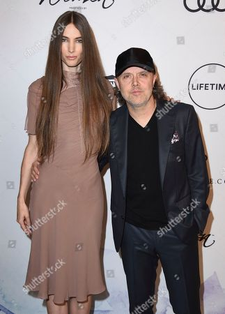 Jessica Miller, Lars Ulrich. Jessica Miller, left, and Lars Ulrich arrive at Variety's Power of Women Luncheon at the Beverly Wilshire hotel, in Beverly Hills, Calif