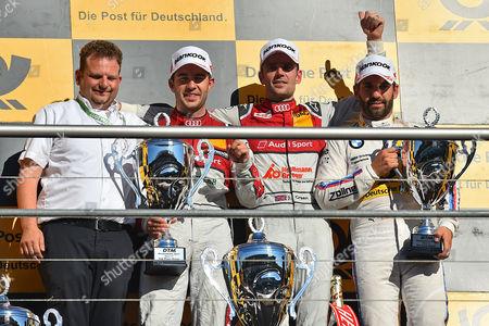 v.l. Techniker of Audi, 2. Platz Mike Rockenfeller (Audi Sport Team Phoenix), Sieger Jamie Green (Audi Sport Team Rosberg), 3. Platz Timo Glock (BMW Team RMG)