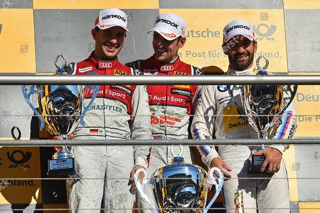 v.l. 2. Platz Mike Rockenfeller (Audi Sport Team Phoenix), Sieger Jamie Green (Audi Sport Team Rosberg), 3. Platz Timo Glock (BMW Team RMG)