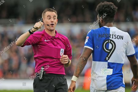 Referee Ross Joyce reminding  Bristol Rovers Ellie Harrison (9) who's in charge during the EFL Sky Bet League 1 match between Bristol Rovers and Oxford United at the Memorial Stadium, Bristol