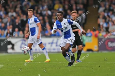 Bristol Rovers Marc Bolan (20) on the ball during the EFL Sky Bet League 1 match between Bristol Rovers and Oxford United at the Memorial Stadium, Bristol