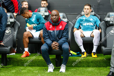 Swansea City assistant coach Claude Makelele before the Premier League match between Swansea City and Huddersfield Town at the Liberty Stadium, Swansea