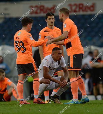 Liam Kelly and Joey van den Berg of Reading  celebrate after the final whistle during the Sky Bet Championship match at Elland Road, Leeds