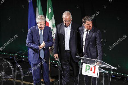 Paolo Gentiloni, Matteo Renzi and Walter Veltroni