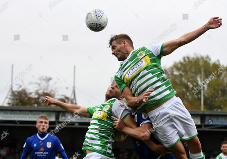 Ryan Dickson of Yeovil Town challenges for a arial ball, during the Sky Bet League 2 match between Yeovil Town and Crewe Alexandra, at Huish Park, Yeovil, Somerset, on October 14th 2017,