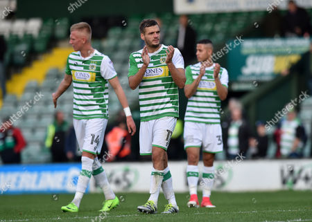 Ryan Dickson of Yeovil Town thanks the fans after the game, during the Sky Bet League 2 match between Yeovil Town and Crewe Alexandra, at Huish Park, Yeovil, Somerset, on October 14th 2017,