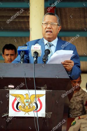 Stock Image of Yemeni Prime Minister Ahmed Obeid bin Daghr delivers a speech during the celebration of the 1963 revolts against British rule in the southern port city of Aden, Yemen, 14 October 2017. According to reports, Yemen?s Saudi-backed government marked the 54th anniversary of the 14 October Revolution against the British colonial rule in south Yemen as pro-secession southern Yemenis call for independence from the north.