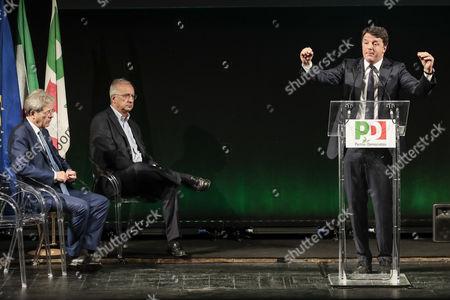 Paolo Gentiloni, Walter Veltroni and Matteo Renzi