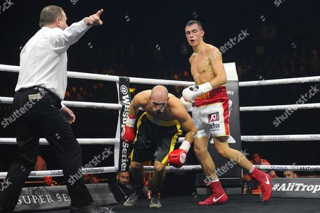 Dean Richardson (white/red shorts) defeats Andrej Moravek during a Boxing Show at the SSE Arena on 14th October 2017