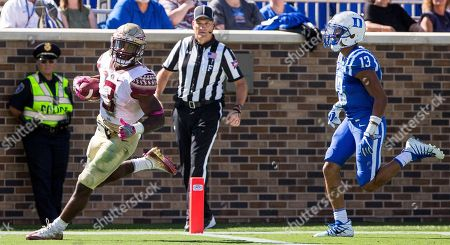Cam Akers, Jordan Hayes. Florida State's Cam Akers (3) scores a touchdown ahead of Duke's Jordan Hayes (13) during the second half of an NCAA college football game against Duke in Durham, N.C., . Florida State beat Duke 17-10