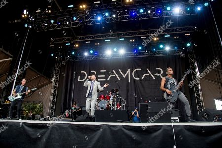 Tom Dumont, Davey Havok, Adrian Young, Tony Kanal. Tom Dumont, from left, Davey Havok, Adrian Young and Tony Kanal of Dreamcar perform at the Austin City Limits Music Festival at Zilker Park, in Austin, Texas