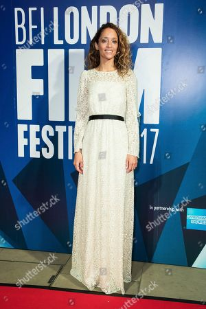 Gloria Huwiler poses for photographers upon arrival at the London Film Festival Awards in London