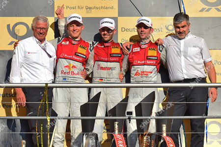 v.l. Teamchef Arno Zensen (Team Rosberg), 2. Platz Mattias Ekström (Audi Sport Team Abt), Meister René Rast (Audi Sport Team Rosberg), 3. Platz Jamie Green (Audi Sport Team Rosberg), Audi Sportchef Dieter Gass