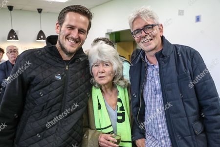 John Sauven(Head of Greenpeace UK, right) and Author Jilly Cooper during the EFL Sky Bet League 2 match between Forest Green Rovers and Newport County at the New Lawn, Forest Green