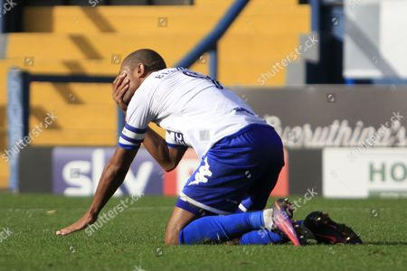 Bury striker Jermaine Beckford (9) reacts to a missed chance during the EFL Sky Bet League 1 match between Bury and Bradford City at the Energy Check Stadium at Gigg Lane, Bury