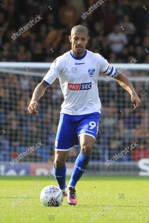 Bury striker and captain Jermaine Beckford (9) during the EFL Sky Bet League 1 match between Bury and Bradford City at the Energy Check Stadium at Gigg Lane, Bury