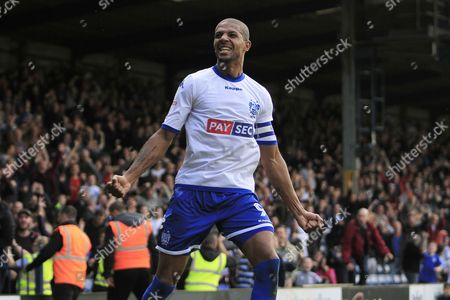 Bury striker Jermaine Beckford (9) celebrates scoring a goal to make the score 2-1 during the EFL Sky Bet League 1 match between Bury and Bradford City at the Energy Check Stadium at Gigg Lane, Bury