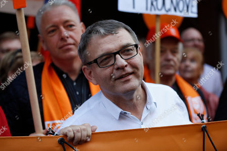 Election leader of Social Democrats Lubomir Zaoralek and his party supporters gather for a march through Prague, Czech Republic, . Czech Republic is holding general elections from Oct. 20 to 21, 2017