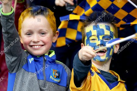 Clooney-Quin vs Sixmilebridge . Sixmile bridge fans Aidan Flannery (aged 8) and Sean Conlon (aged 6)
