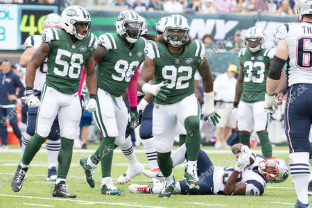 , 2017, New York Jets defensive end Leonard Williams (92) reacts to his tackle of New England Patriots running back Dion Lewis (33) during the NFL game between the New England Patriots and the New York Jets at MetLife Stadium in East Rutherford, New Jersey. The New England Patriots won 24-17