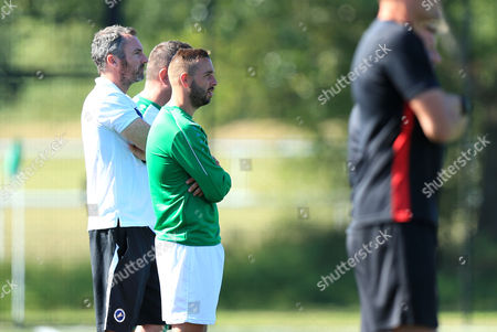 Leatherhead player manager Sammy Moore (in green) Leatherhead vs Bromley, Friendly Match Football at Fetcham Grove on 8th July 2017