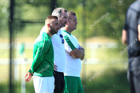 Leatherhead player manager Sammy Moore (in green) during Leatherhead vs Bromley, Friendly Match Football at Fetcham Grove on 8th July 2017