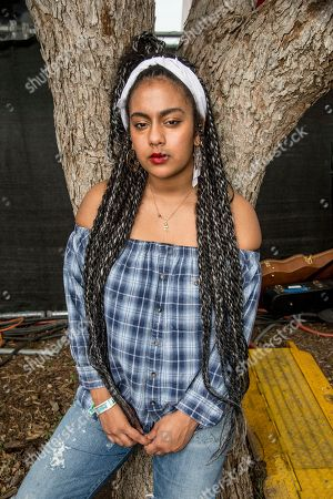 Bibi Bourelly poses at the Austin City Limits Music Festival at Zilker Park, in Austin, Texas