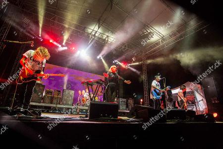 Hannah Hooper, Christian Zucconi, Ryan Rabin, Andrew Wessen and Dan Gleason of Grouplove performs during the Honda Civic Tour at The Masquerade, in Atlanta