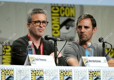 Alex Kurtzman, left, and Roberto Orci attend the Entertainment Weekly: The Visionaries TV Showrunners panel on Day 1 of Comic-Con International, in San Diego