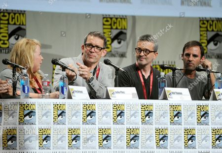 Julie Plec and from left, Rob Thomas, Alex Kurtzman and Roberto Orci attend the Entertainment Weekly: The Visionaries TV Showrunners panel on Day 1 of Comic-Con International, in San Diego