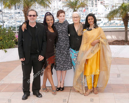 From left, director Semih Kaplanoglu, director Maji-Da Abdi, actress Nicoletti Braschi, director Jane Campion and actress Nandita Das pose for photographers during a photo call for the Cinefondation Jury at the 66th international film festival, in Cannes, southern France