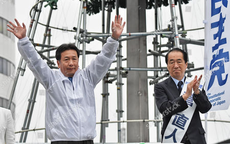 Leader of the Constitutional Democratic Party of Japan, Yukio Edano (L) and Former Prime Minister Naoto Kan attend the stump speech near the Kichijojii station in Tokyo, Japan on October 14, 2017.